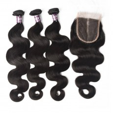 Virgin Brazilian Body Wave Hair 3 Bundles With Lace Closure