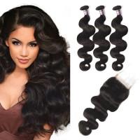 Virgin Brazilian Body Wave Hair 3 Bundles With Lace Closure