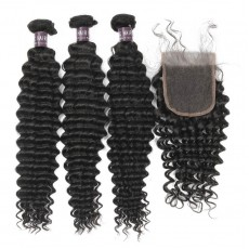 Virgin Brazilian Deep Wave Hair 3 Bundles With Lace Closure