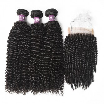 3 Bundles of Virgin Brazilian Kinky Curly Hair with Closure
