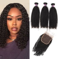 3 Bundles of Virgin Brazilian Kinky Curly Hair with Closure