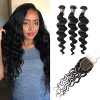 3 Bundles of Brazilian Loose Curly Hair with Lace Closure