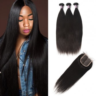 3 Bundles of Brazilian Straight Hair with Lace Closure