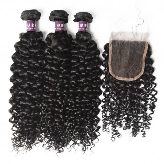 3 Bundles of Indian Curly Hair with Closure