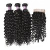 3 Bundles of Brazilian Curly Hair with Closure
