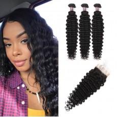 Virgin Indian Deep Wave Hair 3 Bundles With Lace Closure