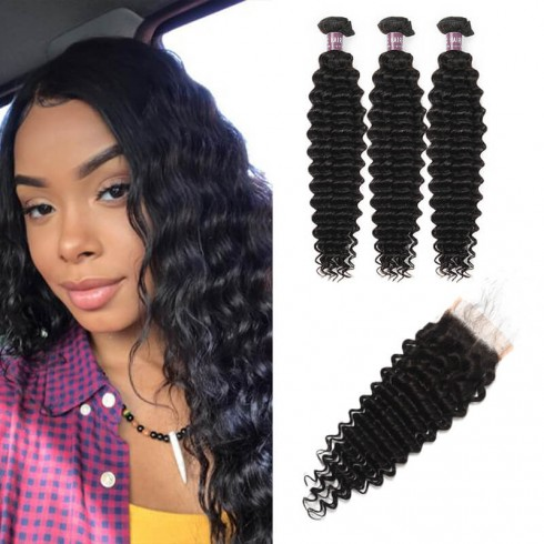 Virgin Indian Deep Wave Hair 3 Bundles With Lace Closure