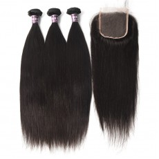 3 Bundles of Indian Straight Hair with Lace Closure