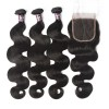 Virgin Malaysian Body Wave Hair 3 Bundles With Lace Closure