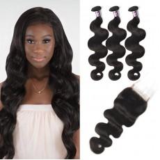 Virgin Malaysian Body Wave Hair 3 Bundles With Lace Closure