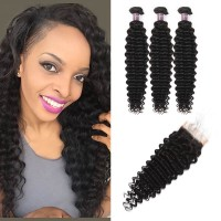 Virgin Malaysian Deep Wave Hair 3 Bundles With Lace Closure
