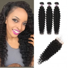 Virgin Malaysian Deep Wave Hair 3 Bundles With Lace Closure