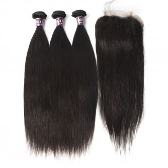 3 Bundles of Malaysian Straight Hair with Lace Closure