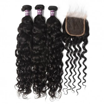 3 Bundles of Brazilian Natural Wave Hair with Closure