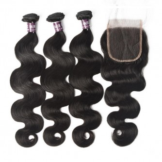 Virgin Peruvian Body Wave Hair 3 Bundles With Lace Closure