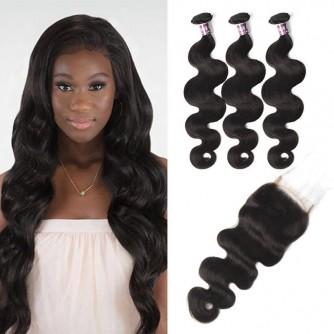 Virgin Peruvian Body Wave Hair 3 Bundles With Lace Closure