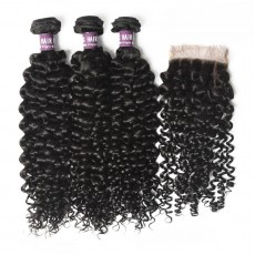 3 Bundles of Peruvian Curly Hair with Closure