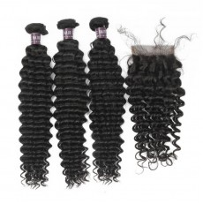 Virgin Peruvian Deep Wave Hair 3 Bundles With Lace Closure