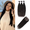 3 Bundles of Peruvian Straight Hair with Lace Closure
