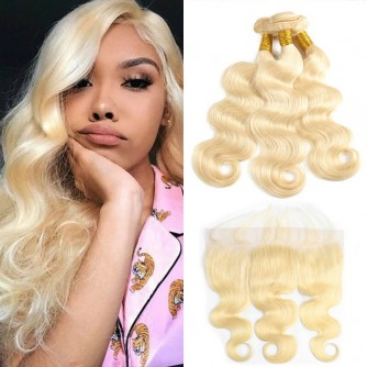 3 Bundles Of 613 Blonde Body Wave Hair With Lace Fronttal