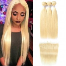 3 Bundles Of 613 Blonde Straight Hair with Lace Frontal
