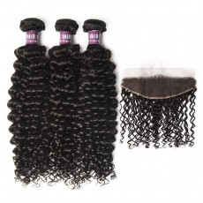 3 Bundles of Virgin Brazilian Curly Hair with Frontal