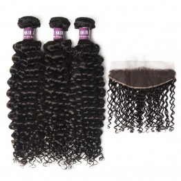 3 Bundles of Virgin Peruvian Curly Hair with Frontal