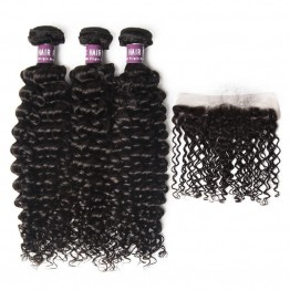 3 Bundles of Virgin Indian Curly Weave with Frontal