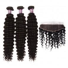 3 Peruvian Virgin Hair Deep Wave Bundles with Frontal