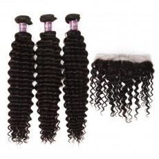 3 Peruvian Virgin Hair Deep Wave Bundles with Frontal