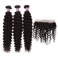 3 Bundles of Virgin Brazilian Deep Wave Hair with Frontal