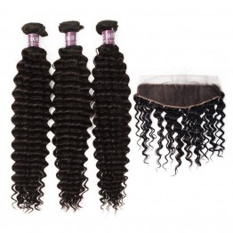 3 Bundles of Virgin Brazilian Deep Wave Hair with Frontal