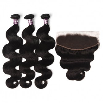 3 Bundles of Virgin Indian Body Wave Hair with Frontal