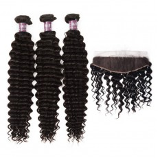 3 Bundles of Virgin Indian Deep Wave Hair with Lace Frontal