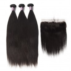 3 Bundles of Virgin Indian Straight Hair with Lace Frontal