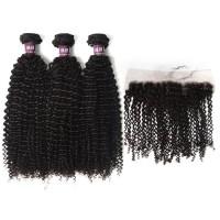 3 Bundles of Virgin Brazilian Kinky Curly Hair with Frontal