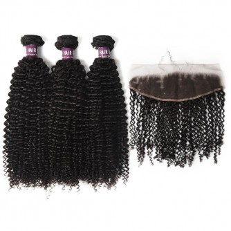3 Bundles of Virgin Brazilian Kinky Curly Hair with Frontal