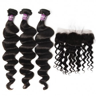 3 Bundles of Virgin Brazilian Loose Curly Hair with Frontal