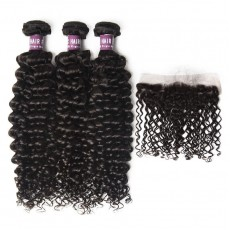 3 Bundles of Virgin Malaysian Curly Hair with Frontal