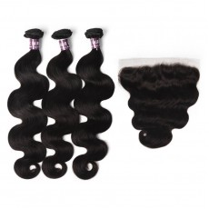3 Bundles of Virgin Peruvian Body Wave Hair with Frontal