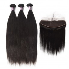 3 Bundles of Virgin Peruvian Straight Hair with Frontal