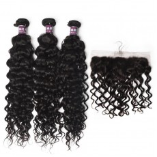 3 Peruvian Virgin Hair Water Wave Bundles with Frontal