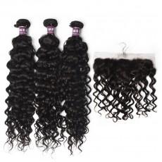 3 Bundles of Virgin Brazilian Water Wave Hair with Frontal