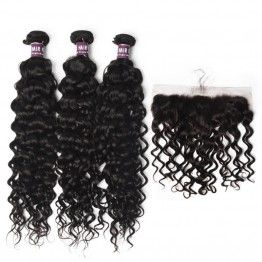 3 Bundles of Virgin Brazilian Water Wave Hair with Frontal