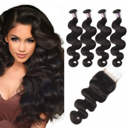 Virgin Brazilian Body Wave Hair 4 Bundles With Lace Closure