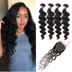 4 Bundles of Brazilian Loose Curly Hair with Lace Closure