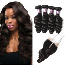 4 Bundles of Brazilian Loose Wave Hair with Lace Closure