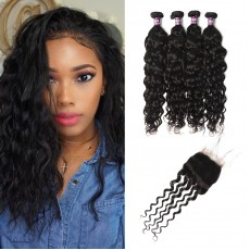 4 Virgin Brazilian Natural Wave Hair Bundles with Closure