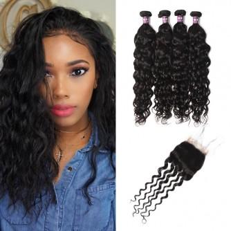 4 Virgin Brazilian Natural Wave Hair Bundles with Closure