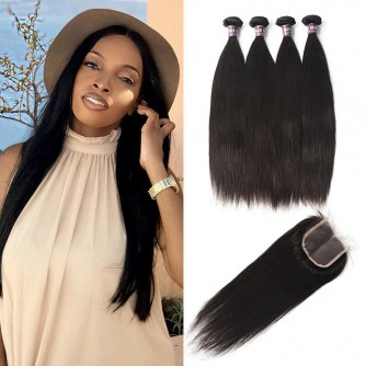 4 Bundles of Brazilian Straight Hair with Lace Closure